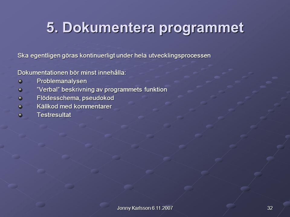 32Jonny Karlsson 6.11.2007 5. Dokumentera programmet Ska egentligen göras kontinuerligt under hela utvecklingsprocessen Dokumentationen bör minst inne