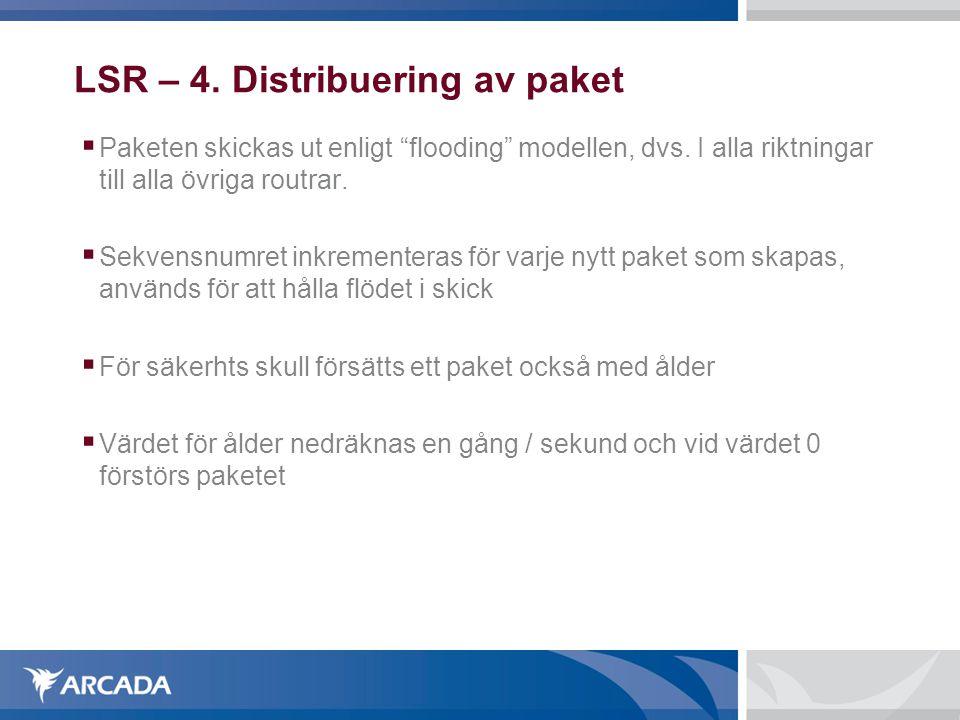 """LSR – 4. Distribuering av paket  Paketen skickas ut enligt """"flooding"""" modellen, dvs. I alla riktningar till alla övriga routrar.  Sekvensnumret inkr"""