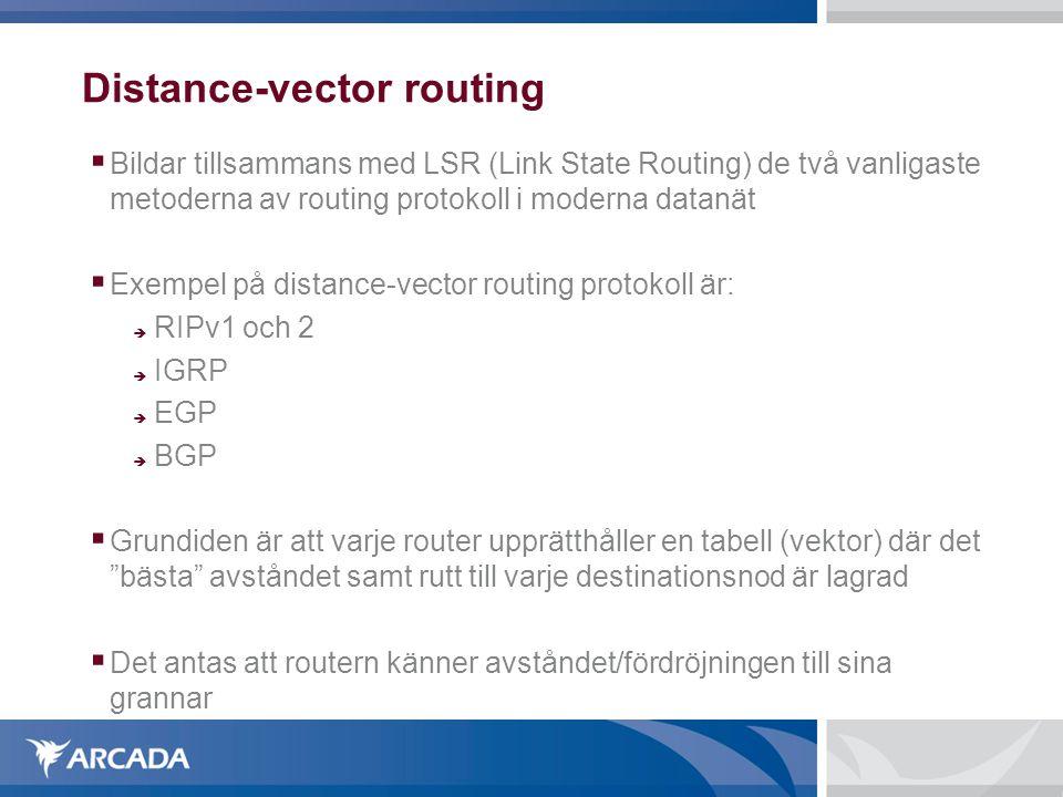 Distance-vector routing  Bildar tillsammans med LSR (Link State Routing) de två vanligaste metoderna av routing protokoll i moderna datanät  Exempel på distance-vector routing protokoll är:  RIPv1 och 2  IGRP  EGP  BGP  Grundiden är att varje router upprätthåller en tabell (vektor) där det bästa avståndet samt rutt till varje destinationsnod är lagrad  Det antas att routern känner avståndet/fördröjningen till sina grannar