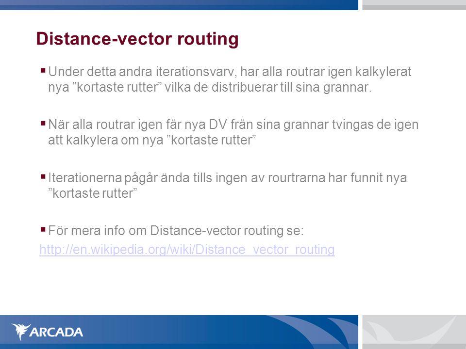 """Distance-vector routing  Under detta andra iterationsvarv, har alla routrar igen kalkylerat nya """"kortaste rutter"""" vilka de distribuerar till sina gra"""