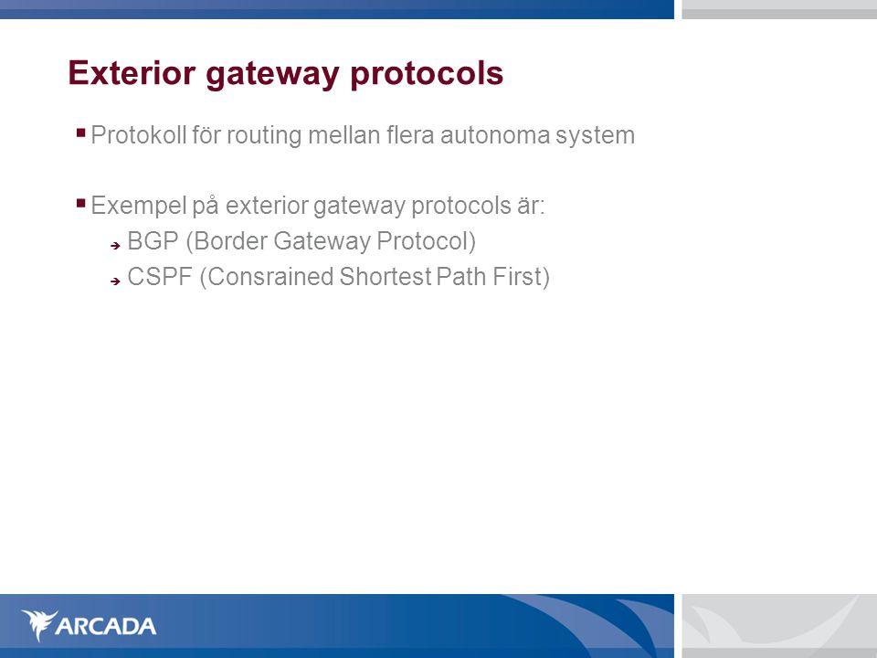 Exterior gateway protocols  Protokoll för routing mellan flera autonoma system  Exempel på exterior gateway protocols är:  BGP (Border Gateway Prot