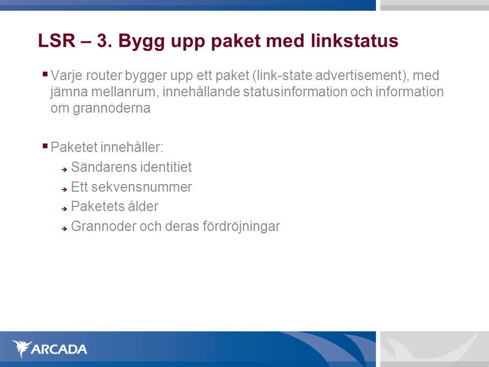 LSR – 3. Bygg upp paket med linkstatus  Varje router bygger upp ett paket (link-state advertisement), med jämna mellanrum, innehållande statusinforma