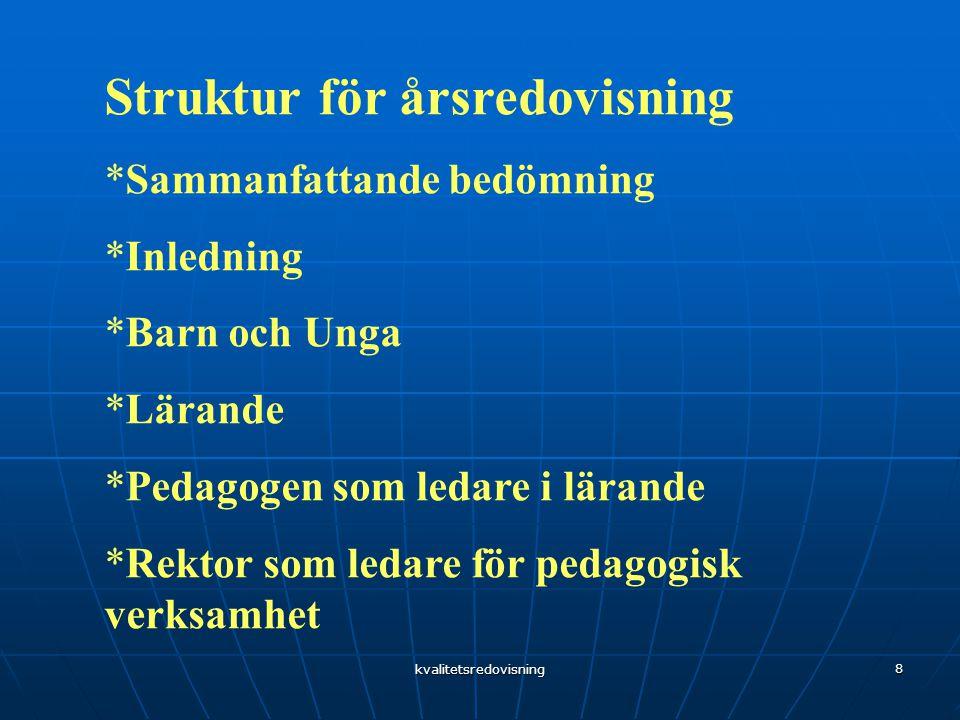 kvalitetsredovisning 8 Struktur för årsredovisning *Sammanfattande bedömning *Inledning *Barn och Unga *Lärande *Pedagogen som ledare i lärande *Rektor som ledare för pedagogisk verksamhet
