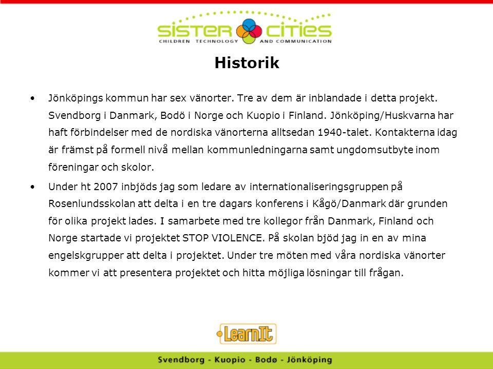 Historik Jönköpings kommun har sex vänorter. Tre av dem är inblandade i detta projekt. Svendborg i Danmark, Bodö i Norge och Kuopio i Finland. Jönköpi