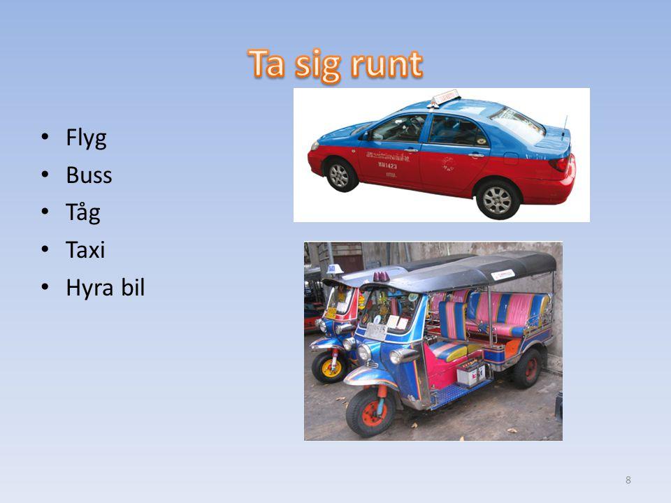 Flyg Buss Tåg Taxi Hyra bil 8