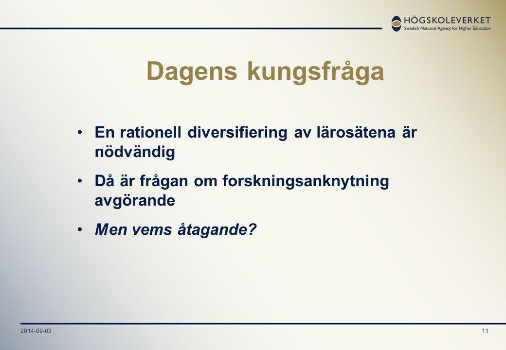 2014-09-0311 Dagens kungsfråga En rationell diversifiering av lärosätena är nödvändig Då är frågan om forskningsanknytning avgörande Men vems åtagande