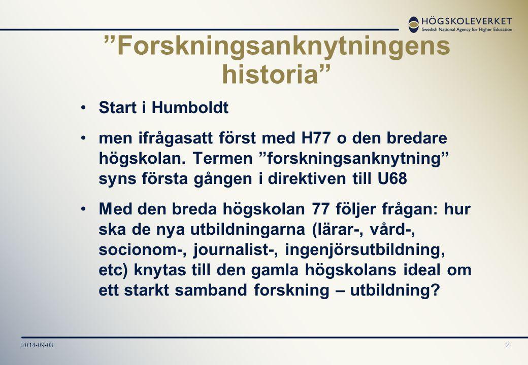 """2014-09-032 """"Forskningsanknytningens historia"""" Start i Humboldt men ifrågasatt först med H77 o den bredare högskolan. Termen """"forskningsanknytning"""" sy"""