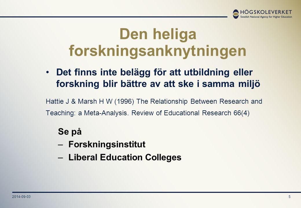 2014-09-035 Den heliga forskningsanknytningen Det finns inte belägg för att utbildning eller forskning blir bättre av att ske i samma miljö Hattie J &
