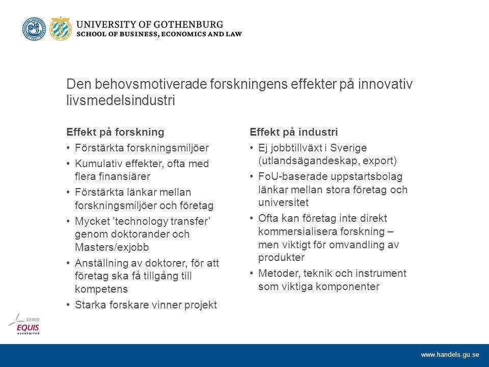 Den behovsmotiverade forskningens effekter på innovativ livsmedelsindustri Effekt på forskning Förstärkta forskningsmiljöer Kumulativ effekter, ofta med flera finansiärer Förstärkta länkar mellan forskningsmiljöer och företag Mycket 'technology transfer' genom doktorander och Masters/exjobb Anställning av doktorer, för att företag ska få tillgång till kompetens Starka forskare vinner projekt Effekt på industri Ej jobbtillväxt i Sverige (utlandsägandeskap, export) FoU-baserade uppstartsbolag länkar mellan stora företag och universitet Ofta kan företag inte direkt kommersialisera forskning – men viktigt för omvandling av produkter Metoder, teknik och instrument som viktiga komponenter