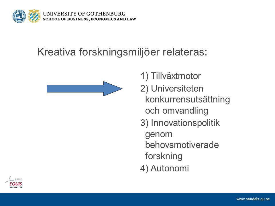 www.handels.gu.se Kreativa forskningsmiljöer relateras: 1) Tillväxtmotor 2) Universiteten konkurrensutsättning och omvandling 3) Innovationspolitik genom behovsmotiverade forskning 4) Autonomi