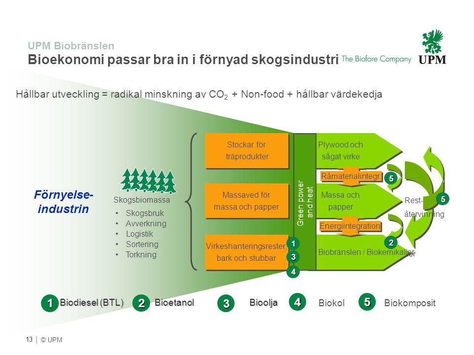 | © UPM UPM Biobränslen Bioekonomi passar bra in i förnyad skogsindustri Förnyelse- industrin Skogsbruk Avverkning Logistik Sortering Torkning Stockar