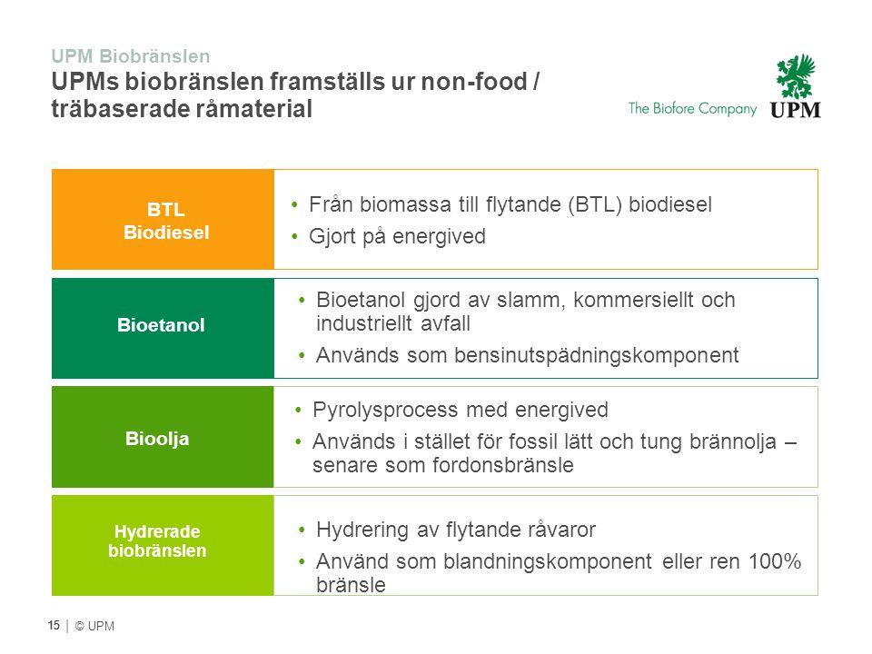 | © UPM UPM Biobränslen UPMs biobränslen framställs ur non-food / träbaserade råmaterial BTL Biodiesel Bioetanol Bioolja Från biomassa till flytande (