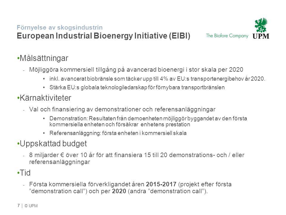 | © UPM Förnyelse av skogsindustrin European Industrial Bioenergy Initiative (EIBI) Målsättningar - Möjliggöra kommersiell tillgång på avancerad bioen