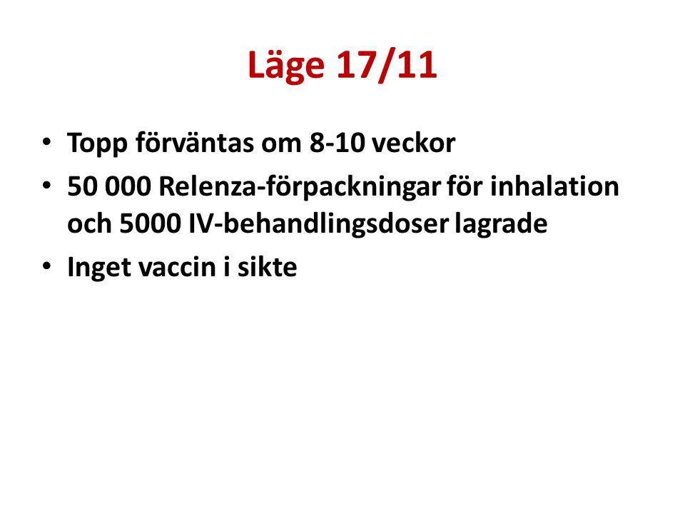 Läge 17/11 Topp förväntas om 8-10 veckor 50 000 Relenza-förpackningar för inhalation och 5000 IV-behandlingsdoser lagrade Inget vaccin i sikte