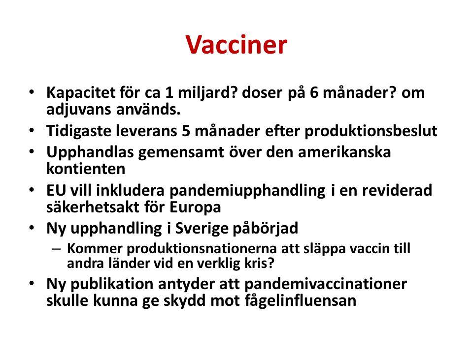 Vacciner Kapacitet för ca 1 miljard? doser på 6 månader? om adjuvans används. Tidigaste leverans 5 månader efter produktionsbeslut Upphandlas gemensam