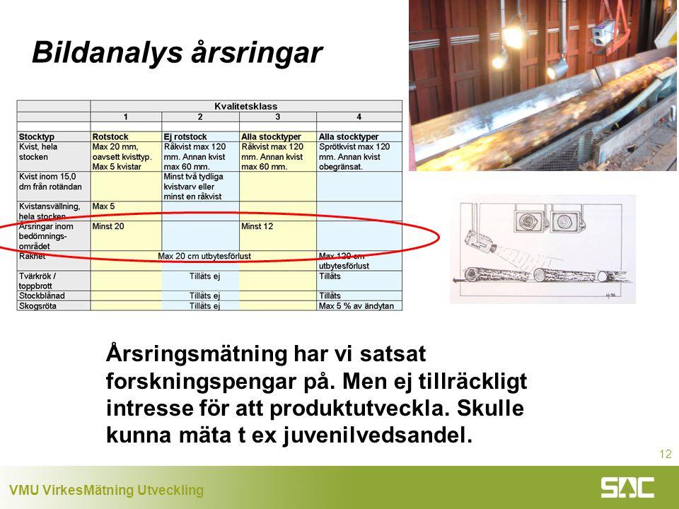 VMU VirkesMätning Utveckling 12 Bildanalys årsringar Årsringsmätning har vi satsat forskningspengar på.