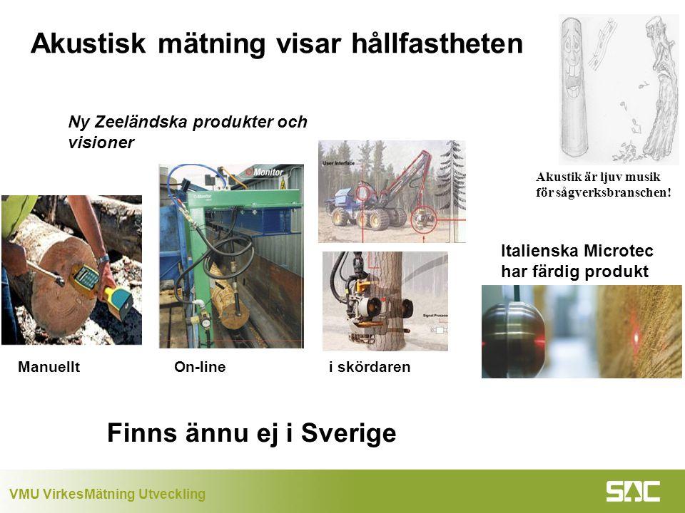 VMU VirkesMätning Utveckling Akustisk mätning visar hållfastheten Akustik är ljuv musik för sågverksbranschen.