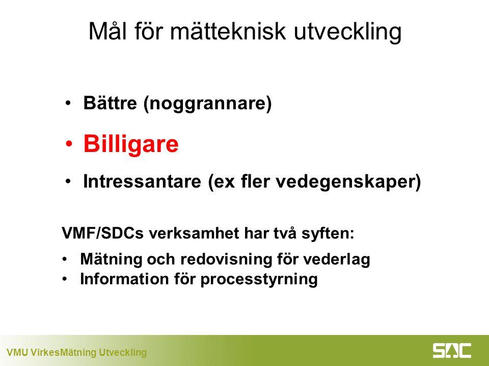 VMU VirkesMätning Utveckling Mål för mätteknisk utveckling Bättre (noggrannare) Billigare Intressantare (ex fler vedegenskaper) VMF/SDCs verksamhet har två syften: Mätning och redovisning för vederlag Information för processtyrning