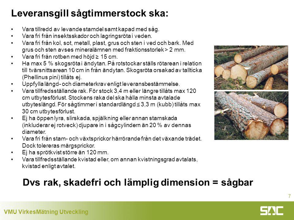 VMU VirkesMätning Utveckling 7 Leveransgill sågtimmerstock ska: Vara tillredd av levande stamdel samt kapad med såg.