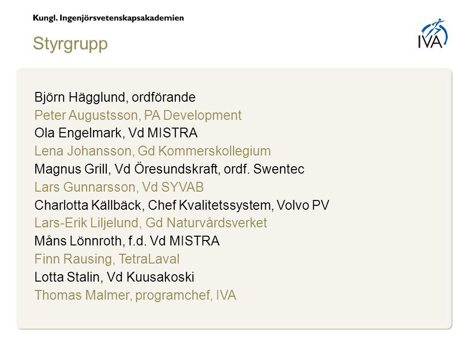 Björn Hägglund, ordförande Peter Augustsson, PA Development Ola Engelmark, Vd MISTRA Lena Johansson, Gd Kommerskollegium Magnus Grill, Vd Öresundskraft, ordf.