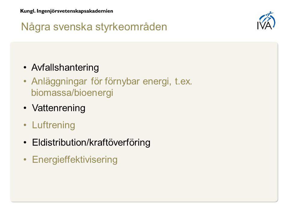 Några svenska styrkeområden Avfallshantering Anläggningar för förnybar energi, t.ex.