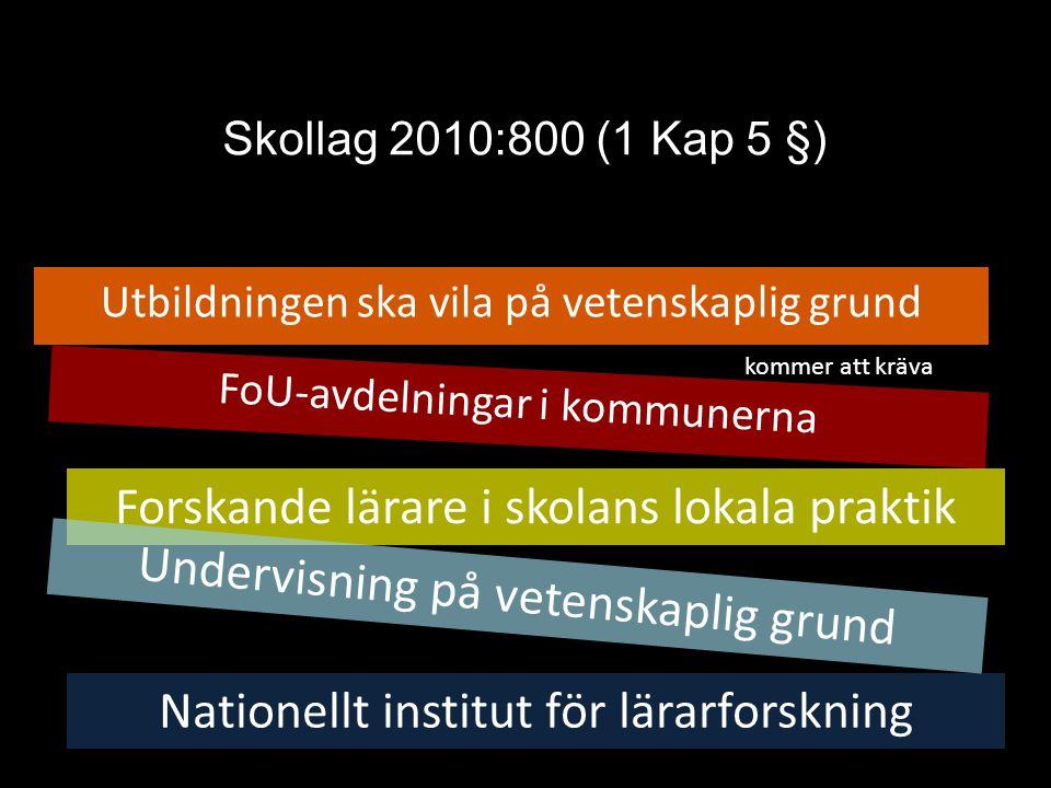 Skollag 2010:800 (1 Kap 5 §) Utbildningen ska vila på vetenskaplig grund FoU-avdelningar i kommunerna Forskande lärare i skolans lokala praktik Nation