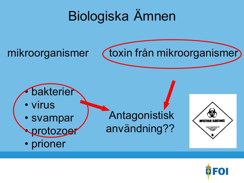 Biologiska Ämnen mikroorganismer toxin från mikroorganismer bakterier virus svampar protozoer prioner Antagonistisk användning