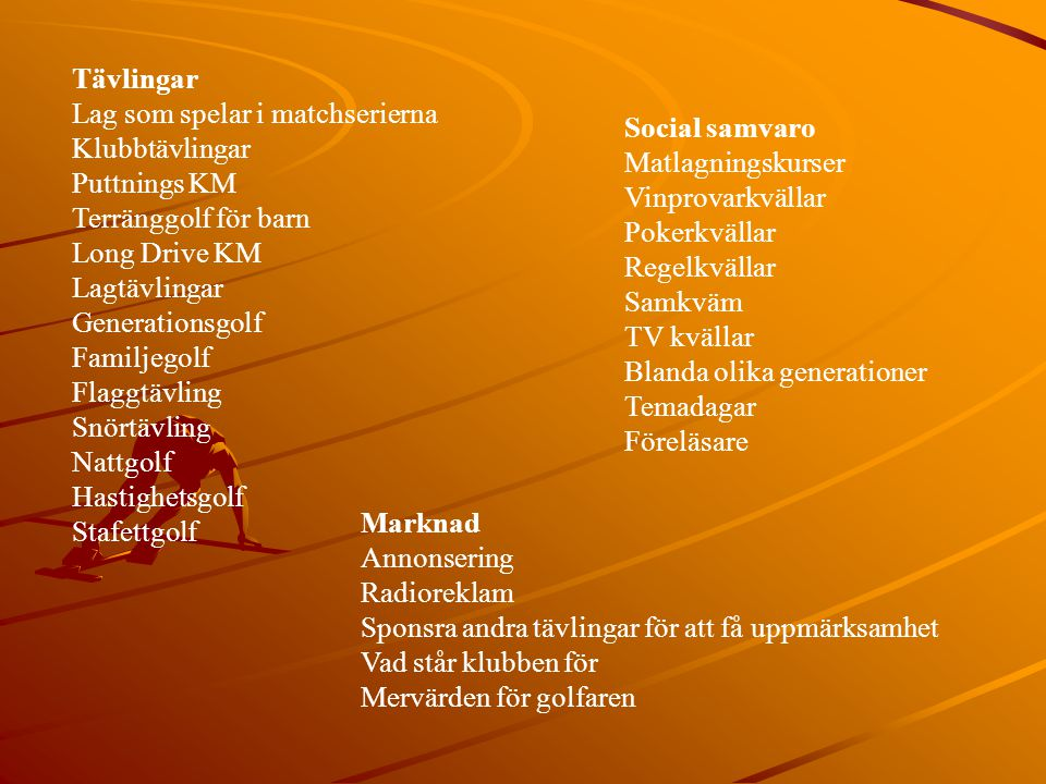 Tävlingar Lag som spelar i matchserierna Klubbtävlingar Puttnings KM Terränggolf för barn Long Drive KM Lagtävlingar Generationsgolf Familjegolf Flagg
