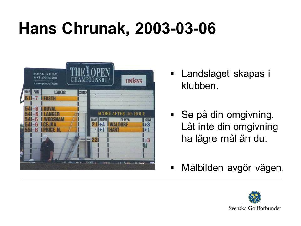 Hans Chrunak, 2003-03-06  Landslaget skapas i klubben.  Se på din omgivning. Låt inte din omgivning ha lägre mål än du.  Målbilden avgör vägen.