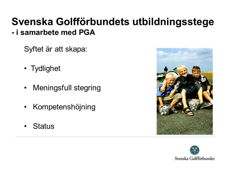 Svenska Golfförbundets utbildningsstege - i samarbete med PGA Syftet är att skapa: Tydlighet Meningsfull stegring Kompetenshöjning Status