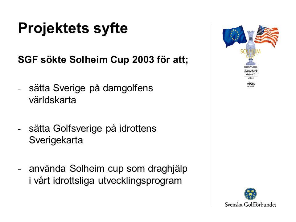 Projektets syfte SGF sökte Solheim Cup 2003 för att; - sätta Sverige på damgolfens världskarta - sätta Golfsverige på idrottens Sverigekarta -använda Solheim cup som draghjälp i vårt idrottsliga utvecklingsprogram