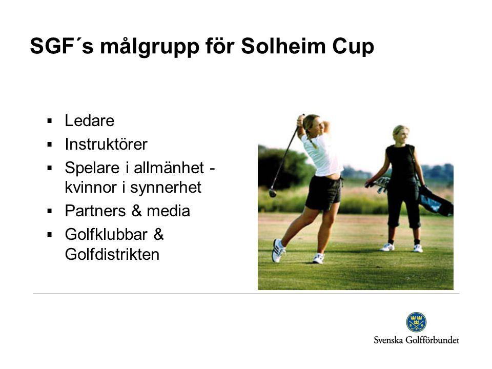SGF´s målgrupp för Solheim Cup  Ledare  Instruktörer  Spelare i allmänhet - kvinnor i synnerhet  Partners & media  Golfklubbar & Golfdistrikten
