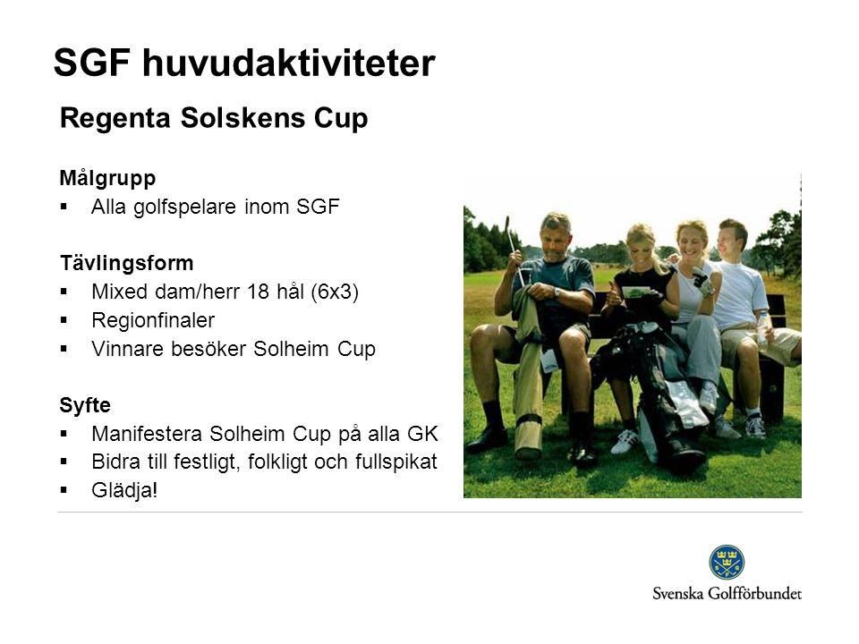 SGF huvudaktiviteter Regenta Solskens Cup Målgrupp  Alla golfspelare inom SGF Tävlingsform  Mixed dam/herr 18 hål (6x3)  Regionfinaler  Vinnare besöker Solheim Cup Syfte  Manifestera Solheim Cup på alla GK  Bidra till festligt, folkligt och fullspikat  Glädja!