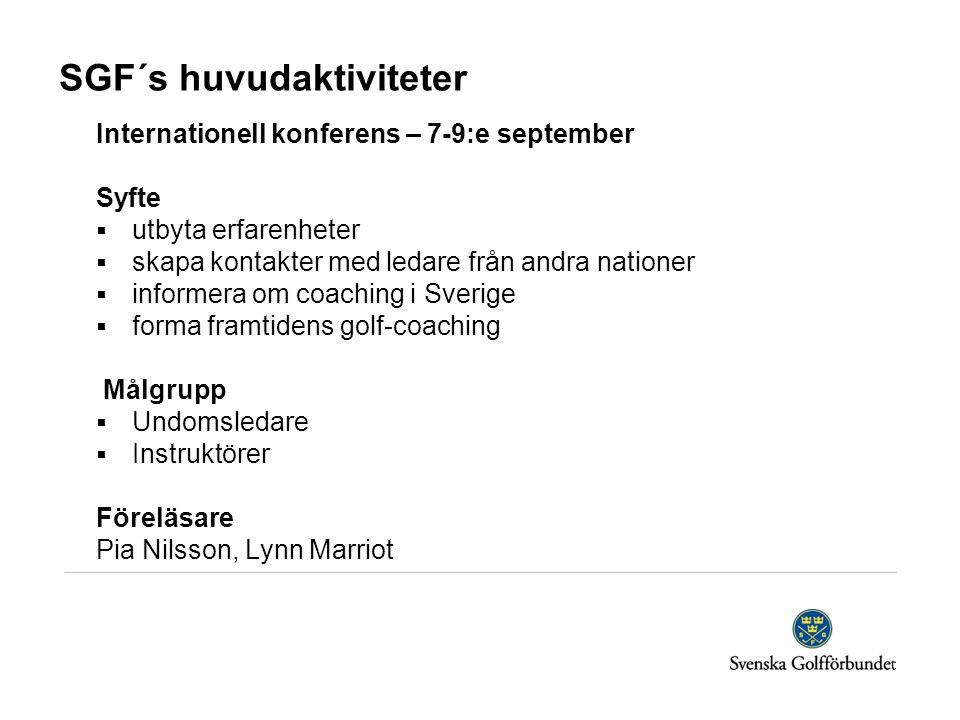 SGF´s huvudaktiviteter Internationell konferens – 7-9:e september Syfte  utbyta erfarenheter  skapa kontakter med ledare från andra nationer  informera om coaching i Sverige  forma framtidens golf-coaching Målgrupp  Undomsledare  Instruktörer Föreläsare Pia Nilsson, Lynn Marriot
