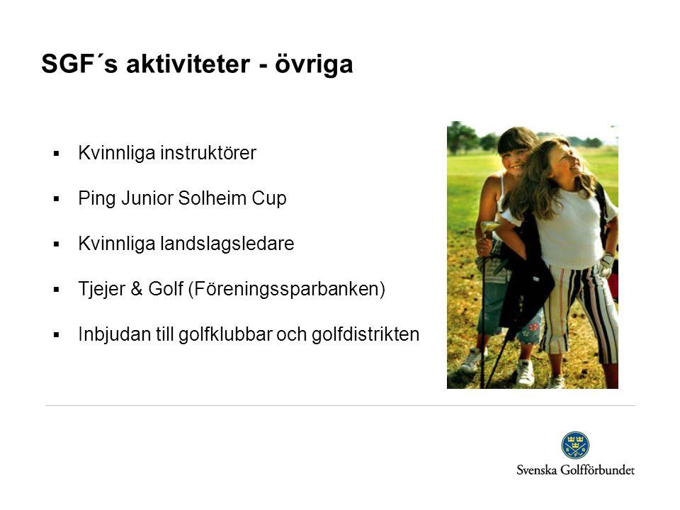 SGF´s aktiviteter - övriga  Kvinnliga instruktörer  Ping Junior Solheim Cup  Kvinnliga landslagsledare  Tjejer & Golf (Föreningssparbanken)  Inbjudan till golfklubbar och golfdistrikten