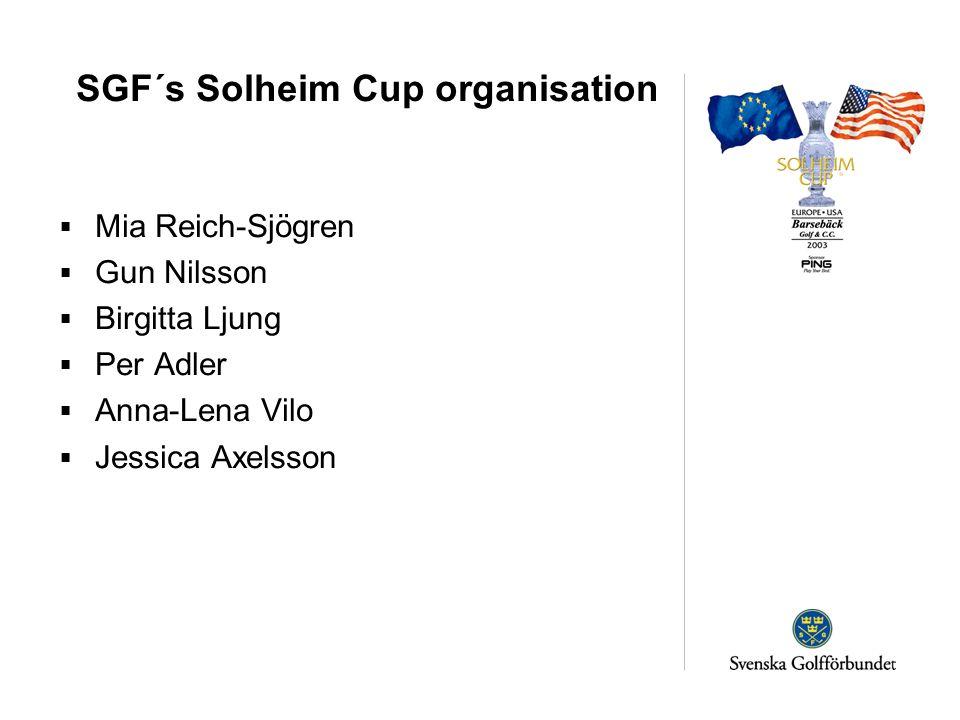 SGF´s Solheim Cup organisation  Mia Reich-Sjögren  Gun Nilsson  Birgitta Ljung  Per Adler  Anna-Lena Vilo  Jessica Axelsson