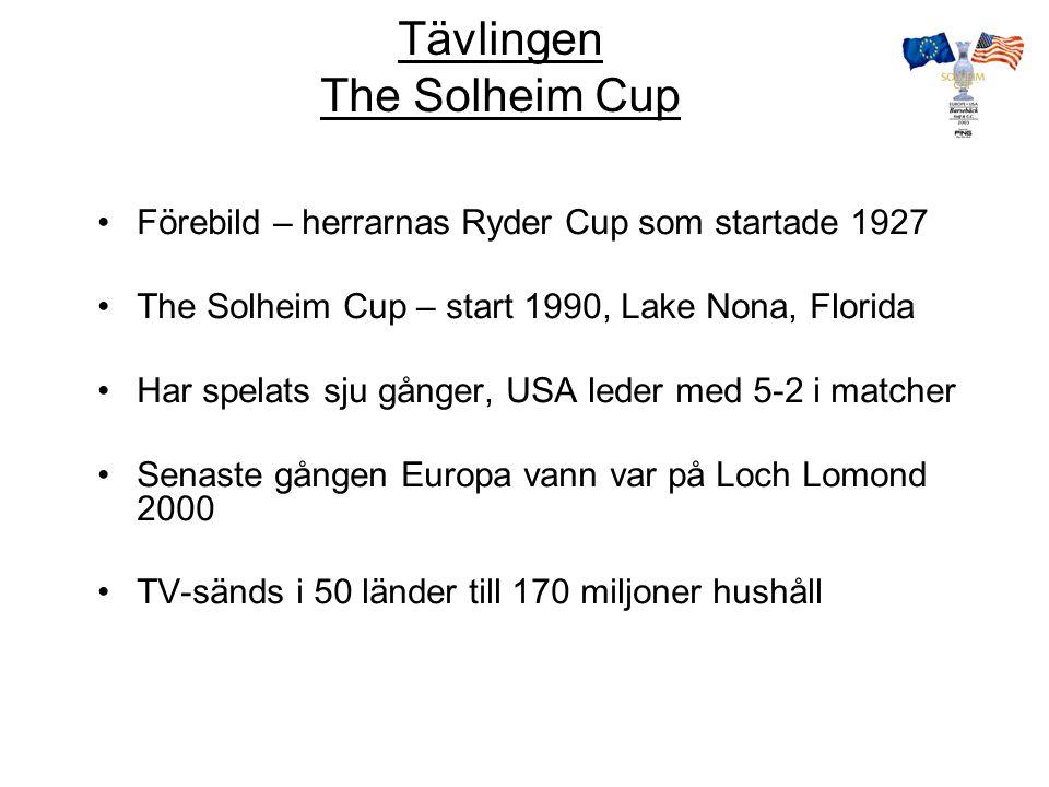 The Solheim Cup 12 spelare i varje lag Spelformen –Tre dagar matchspel –8 Foursome –8 Fyrboll –12 Singel Lagtävling Inga prispengar