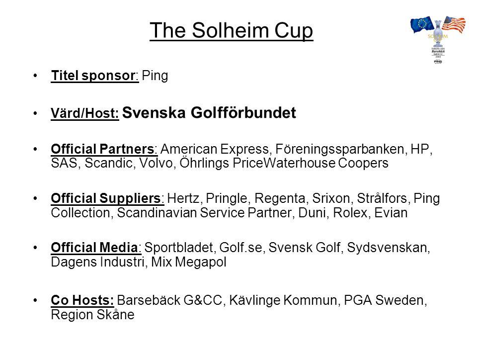 The Solheim Cup biljetter Fredagen 12 september 25 000 Disponibelt för allmänheten 10 000 Lördagen 13 september 25 000 Disponibelt för allmänheten 10 000 Söndagen 14 september 30 000 Disponibelt för allmänheten 15 000 Biljettförsäljning www.solheimcup.golf.se 0771 44 44 10www.solheimcup.golf.se