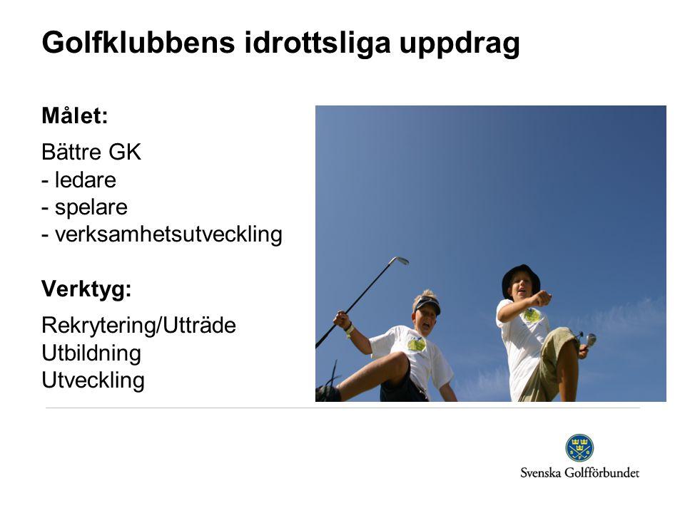 Golfklubbens idrottsliga uppdrag Målet: Bättre GK - ledare - spelare - verksamhetsutveckling Verktyg: Rekrytering/Utträde Utbildning Utveckling