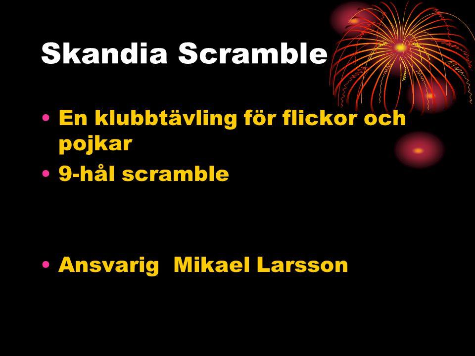 Skandia Scramble En klubbtävling för flickor och pojkar 9-hål scramble Ansvarig Mikael Larsson