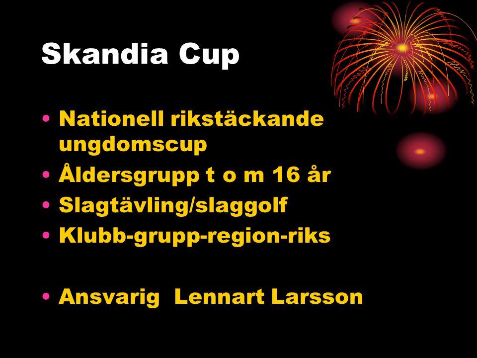 Skandia Cup Nationell rikstäckande ungdomscup Åldersgrupp t o m 16 år Slagtävling/slaggolf Klubb-grupp-region-riks Ansvarig Lennart Larsson