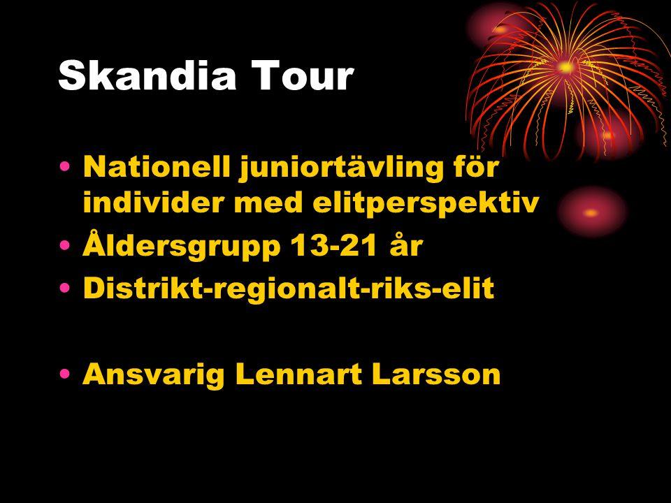 Skandia Tour Nationell juniortävling för individer med elitperspektiv Åldersgrupp 13-21 år Distrikt-regionalt-riks-elit Ansvarig Lennart Larsson