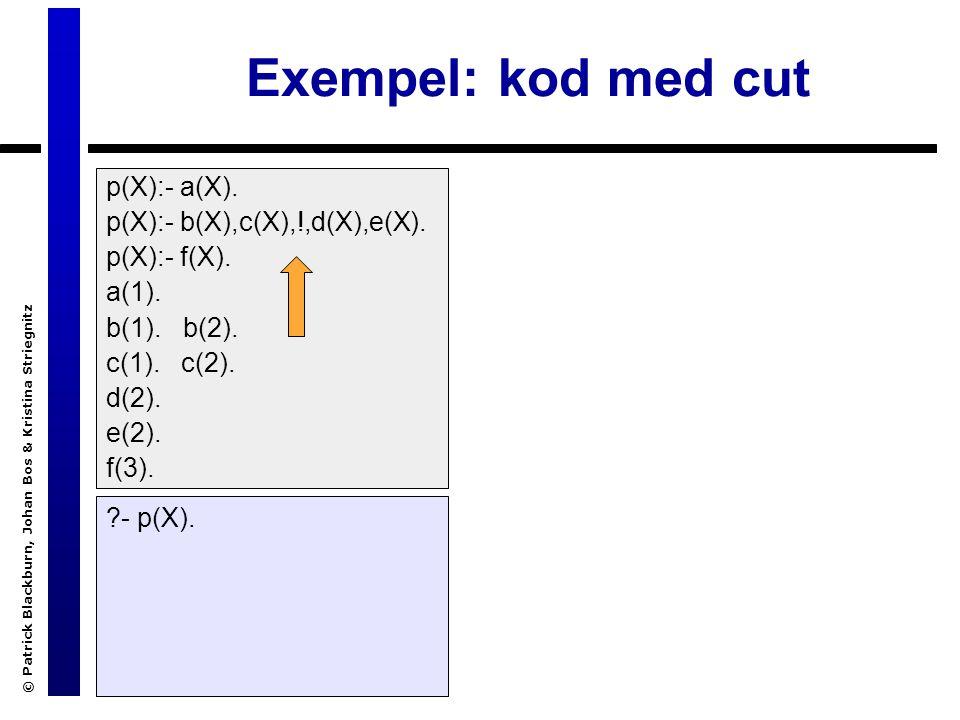 © Patrick Blackburn, Johan Bos & Kristina Striegnitz Exempel: kod med cut p(X):- a(X).