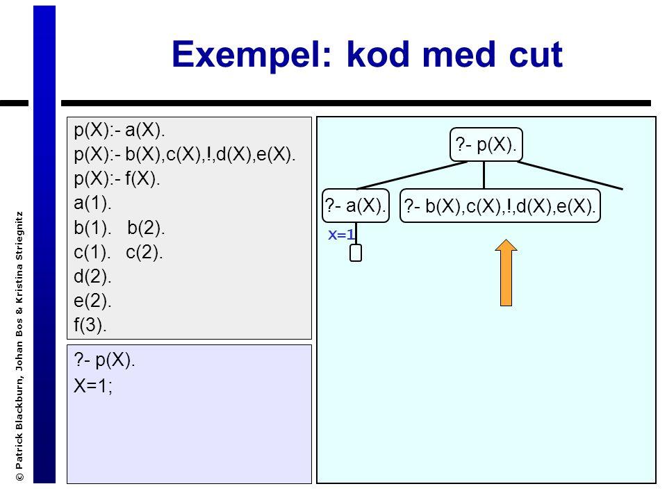 © Patrick Blackburn, Johan Bos & Kristina Striegnitz Exempel: kod med cut ?- p(X).