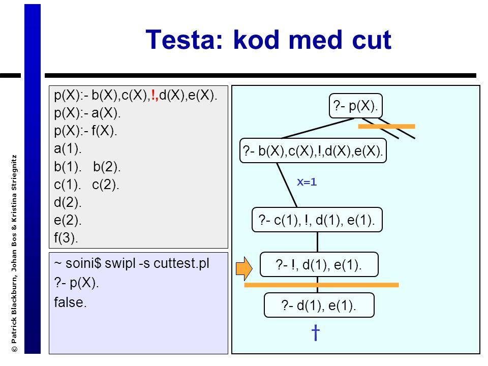 © Patrick Blackburn, Johan Bos & Kristina Striegnitz Testa: kod med cut ~ soini$ swipl -s cuttest.pl ?- p(X).