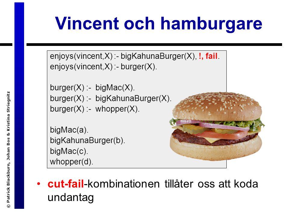 © Patrick Blackburn, Johan Bos & Kristina Striegnitz Vincent och hamburgare cut-fail-kombinationen tillåter oss att koda undantag enjoys(vincent,X) :- bigKahunaBurger(X), !, fail.