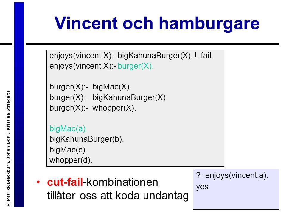 © Patrick Blackburn, Johan Bos & Kristina Striegnitz Vincent och hamburgare cut-fail-kombinationen tillåter oss att koda undantag enjoys(vincent,X):- bigKahunaBurger(X), !, fail.