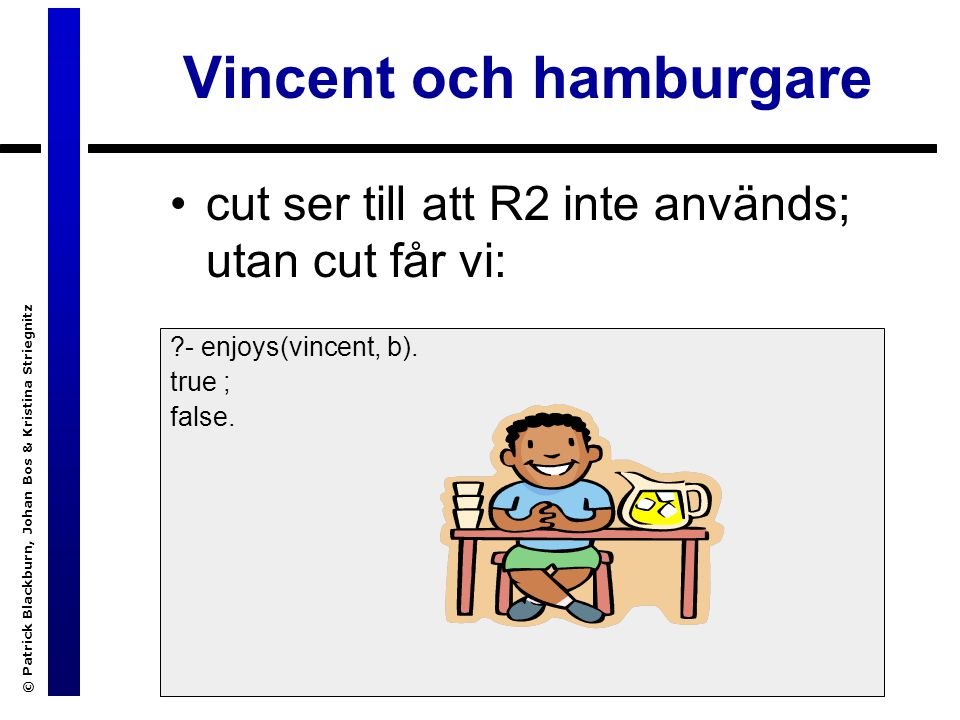 © Patrick Blackburn, Johan Bos & Kristina Striegnitz Vincent och hamburgare cut ser till att R2 inte används; utan cut får vi: ?- enjoys(vincent, b).