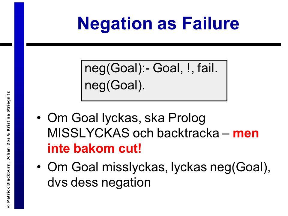 © Patrick Blackburn, Johan Bos & Kristina Striegnitz Negation as Failure Om Goal lyckas, ska Prolog MISSLYCKAS och backtracka – men inte bakom cut.