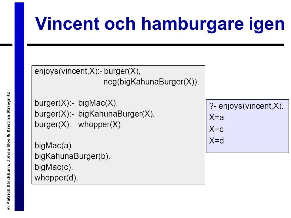 © Patrick Blackburn, Johan Bos & Kristina Striegnitz Vincent och hamburgare igen enjoys(vincent,X):- burger(X), neg(bigKahunaBurger(X)).